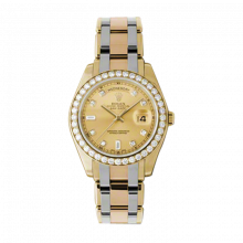 New Rolex Men's Masterpiece Pearlmaster Day Date Watch - 18K Yellow Gold Champagne Diamond Dial - Diamond Bezel - Tridor Pearlmaster Bracelet (18K Yellow, White and Rose Gold) 39 MM 18948