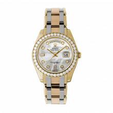 New Rolex Men's Masterpiece Pearlmaster Day Date Watch - 18K Yellow Gold Mother of Pearl Diamond Dial - Diamond Bezel - Tridor Pearlmaster Bracelet (18K Yellow, White and Rose Gold) 39 MM 18948