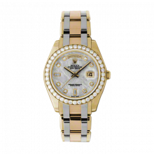 New Rolex Men's Masterpiece Pearlmaster Day Date Watch - 18K Yellow Gold Meteorite Diamond Dial - Diamond Bezel - Tridor Pearlmaster Bracelet (18K Yellow, White and Rose Gold) 39 MM 18948