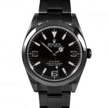 Pre-owned Rolex Mens New Style Stainless Steel Explorer Watch -  with PVD/DLC Coating Black Dial 214270 39MM