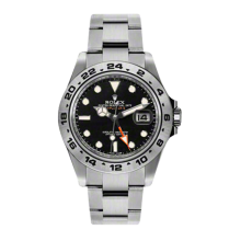 New Rolex Men's New Style Explorer II Watch - Stainless Steel Black Dial - 24 Hour Engraved Bezel - Oyster Bracelet 42MM 216570