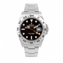 Pre-owned Rolex Mens New Style Explorer II Watch - Stainless Steel Black Dial 216570 42MM