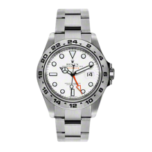 New Rolex Men's New Style Explorer II Watch - Stainless Steel White Dial - 24 Hour Engraved Bezel - Oyster Bracelet 42MM 216570