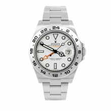Pre-owned Rolex Mens New Style Explorer II Watch - Stainless Steel White Dial 216570 42MM