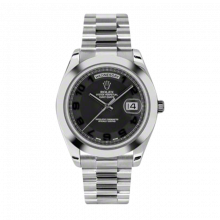 New Rolex Men's New Style Day-Date II Watch - Platinum President Black Concentric Arabic Dial - Domed/ Smooth Bezel -  Presidential Bracelet 41 MM 218206