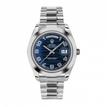 New Rolex Men's New Style Day-Date II Watch - Platinum President Blue Wave Arabic Dial - Domed/ Smooth Bezel -  Presidential Bracelet 41 MM 218206