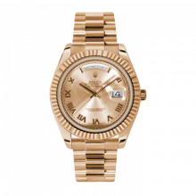 Pre-Owned Rolex Men's New Style Day-Date II Watch - Rose Gold President Pink Champagne Roman Dial - 18K Fluted Bezel -  Presidential Bracelet 41 MM 218235