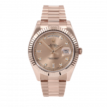 Pre-owned Rolex Mens 18 K Rose Gold Day Date President II Watch - with Rose Diamond Dial - Fluted Bezel - 218235 Model