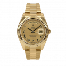 Pre-owned Rolex Mens 18 K Yellow Gold Day Date President II Watch - with Champagne Roman Dial - Fluted Bezel - 218238 Model