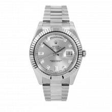 Pre-Owned Rolex Mens 18 K White Gold Day Date President II Watch - with Silver Diamond Dial - Fluted Bezel - 218239 Model
