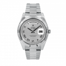 Rolex Mens 18 K White Gold Day Date President II Watch - with Silver Roman Dial - Fluted Bezel - 218239 Model