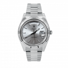 Rolex Mens 18 K White Gold Day Date President II Watch - with Silver Stick Dial - Fluted Bezel - 218239 Model