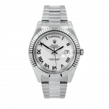 Pre-owned Rolex Mens 18 K White Gold Day Date President II Watch - with White Roman Dial - Fluted Bezel - 218239 Model