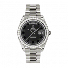 New Rolex Men's New Style Day-Date II Watch - White Gold President Black Concentric Arabic Dial - Diamond Bezel -  Presidential Bracelet 41 MM 218349