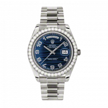 New Rolex Men's New Style Day-Date II Watch - White Gold President Blue Wave Arabic Dial - Diamond Bezel -  Presidential Bracelet 41 MM 218349