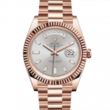 Rolex Day-Date 228235 40mm Sundust Baguette Diamond Dial 18K Everose Gold - Fluted Bezel - Presidential Band - UNUSED