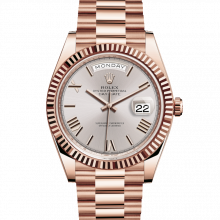 Rolex Day-Date 228235 40mm Sundust Roman Dial 18K Everose Gold - Fluted Bezel - Presidential Band - UNUSED