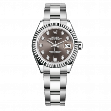 UNUSED Rolex Ladies New Style Datejust Watch - Stainless Steel - Dark Grey Diamond Dial - Fluted Bezel -  Oyster Bracelet 28 MM 279174