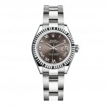UNUSED Rolex Ladies New Style Datejust Watch - Stainless Steel - Dark Grey Roman Dial - Fluted Bezel -  Oyster Bracelet 28 MM 279174