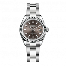 UNUSED Rolex Ladies New Style Datejust Watch - Stainless Steel - Dark Grey Stick Dial - Fluted Bezel -  Oyster Bracelet 28 MM 279174