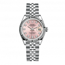 UNUSED Rolex Ladies New Style Datejust Watch - Stainless Steel - Pink Diamond Dial - Fluted Bezel -  Jubilee Bracelet 28 MM 279174