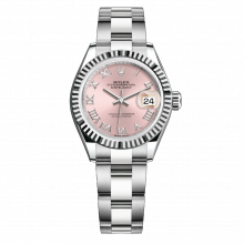 UNUSED Rolex Ladies New Style Datejust Watch - Stainless Steel - Pink Roman Dial - Fluted Bezel -  Oyster Bracelet 28 MM 279174