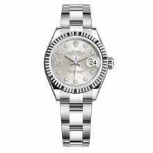 UNUSED Rolex Ladies New Style Datejust Watch - Stainless Steel - Silver Diamond Dial - Fluted Bezel -  Oyster Bracelet 28 MM 279174