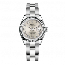 UNUSED Rolex Ladies New Style Datejust Watch - Stainless Steel - Silver Roman Dial - Fluted Bezel -  Oyster Bracelet 28 MM 279174