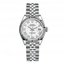 UNUSED Rolex Ladies New Style Datejust Watch - Stainless Steel - White Roman Dial - Fluted Bezel -  Jubilee Bracelet 28 MM 279174