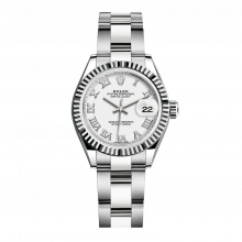 UNUSED Rolex Ladies New Style Datejust Watch - Stainless Steel - White Roman Dial - Fluted Bezel -  Oyster Bracelet 28 MM 279174