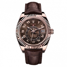 Rolex Sky Dweller 326135 42mm 18K Everose Gold, Chocolate Dial - Directional Fluted Bezel - Leather Strap - UNUSED