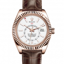 Rolex Sky Dweller 326138 42mm 18K Everose Gold - White Dial - Directional Fluted Bezel - Leather Strap - UNUSED