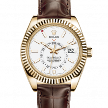 Rolex Sky Dweller 326138 42mm 18K Yellow Gold, White Dial - Directional Fluted Bezel - Leather Strap - UNUSED