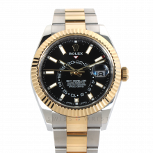 Rolex Sky Dweller 42mm 326933 - Black Dial - Steel & 18K Yellow Gold - Fluted Bezel On A Oyster Band