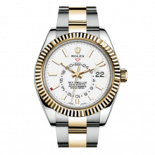 Rolex Sky Dweller 42mm 326933 - White Dial - Steel & 18K Yellow Gold - Fluted Bezel On A Oyster Band - UNUSED
