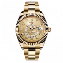 Rolex Sky Dweller 42 mm 326938 - Champagne Dial - 18K Yellow Gold - Fluted Bezel On A Oyster Band - UNUSED