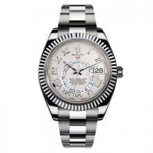 Rolex Sky Dweller 42mm 326939 - Ivory Roman Dial - 18K White Gold - Fluted Bezel On A Oyster Band - UNUSED