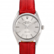 Rolex 5500 Mens Airking 34mm Stainless Steel w/ Silver Stick Dial & Smooth Bezel with Red Leather Strap - Pre-Owned