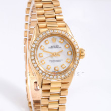 Rolex Oyster Perpetual 24mm 6619 Yellow Gold w/ Mother of Pearl Diamond Dial & Diamond Bezel on Presidential Bracelet - Ladies Pre-Owned