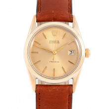 Rolex Oyster Date 34mm 6694 Yellow Gold Shell w/, Champagne Stick Dial & Smooth Bezel on Brown Leather Strap - Men's Pre-Owned