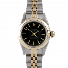 Rolex Oyster Perpetual No Date 67193 - Black Stick Dial - 18K Yellow Gold & Stainless Steel - Fluted Bezel On A Jubilee Band - Pre-Owned