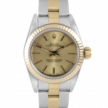 Rolex Oyster Perpetual No Date - Champagne Stick Dial - Yellow Gold & Stainless Steel - Fluted Bezel On A Oyster Band - Pre-Owned