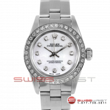 Rolex Oyster Perpetual No Date 67180 - Custom Mother Of Pearl Diamond Dial - Stainless Steel - Diamond Bezel On A Oyster Band - Pre-Owned