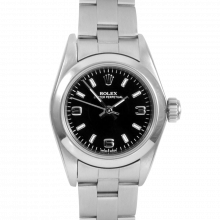 Rolex Oyster Perpetual No Date 67180 - Black Arabic and Stick Dial - Stainless Steel - Smooth Bezel On A Oyster Band - Pre-Owned