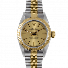 Rolex Oyster Perpetual No Date 67193 - Champagne Stick Dial - 18K Yellow Gold & Stainless Steel - Fluted Bezel On A Jubilee Band - Pre-Owned