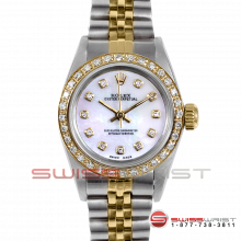 Rolex Oyster Perpetual No Date 67193 - Custom Pearl Diamond Dial - 18K Yellow Gold & Stainless Steel - Diamond Bezel On A Jubilee Band - Pre-Owned