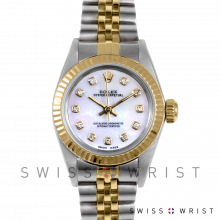 Rolex Oyster Perpetual No Date - Custom Pearl Diamond Dial - Yellow Gold & Stainless Steel - Fluted Bezel On A Jubilee Band - Pre-Owned