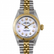 Rolex Oyster Perpetual No Date 67193 - Custom Pearl Diamond Dial - 18K Yellow Gold & Stainless Steel - Fluted Bezel On A Jubilee Band - Pre-Owned