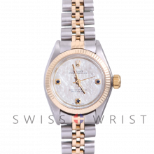 Rolex Oyster Perpetual Yellow Gold & Steel, Custom Mother Of Pearl Dial With Sapphire At 3,6,9 O'clock, Fluted Bezel On A Jubilee Bracelet - Women's Pre-Owned Watch