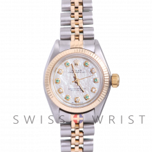 Rolex Oyster Perpetual Yellow Gold & Steel, Custom Mother Of Pearl Dial With Diamond And Emeralds, Fluted Bezel On A Jubilee Bracelet - Women's Pre-Owned Watch